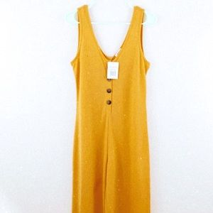 NWT Yellow Ribbed Sleevless Jumpsuit